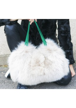 Fox fur dyes lynx handbag