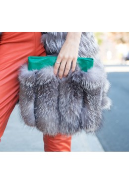Indigo fox fur mini handbag