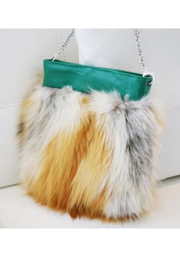 Red fox fur mini handbag