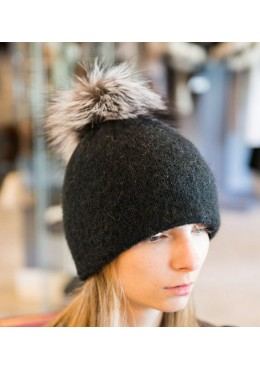 Hat with silver fox fur removable pompon
